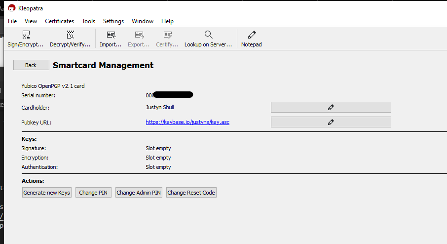 Example Kleopatra Smartcard Management Screen
